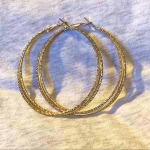 Jewelry - Large Textured Gold-tone Twisted Hoops EUC